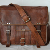 Leather Messenger Bag Brown Leather Briefcase cross Body 14 Inch Leather bag