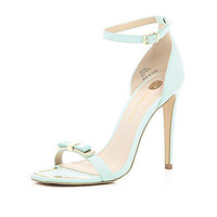 Mint green bow barely there sandals - heeled sandals - shoes / boots - women