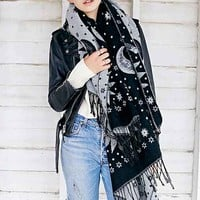 Mystical Woven Blanket Scarf- Black Multi One