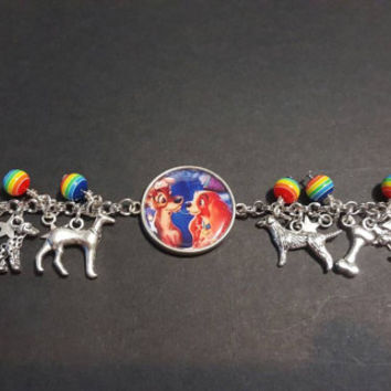 Disney lady and the tramp themed stainless steel charm bracelet