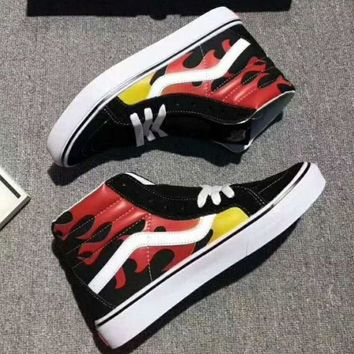 VLXZRBC Vans Flame Print Ankle Boots Old Skool Canvas Flat Sneakers Sport Shoes G-A36H-MY