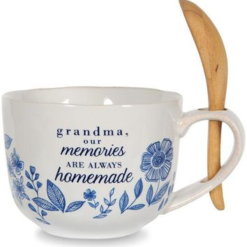 Grandma, our memories are always homemade Soup Bowl with Bamboo Spoon