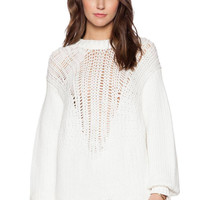 White Knitted Jumper with Cut Out Front
