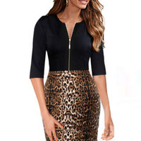 Leopard Print Half Sleeve Zipper Bodycon Midi Dress