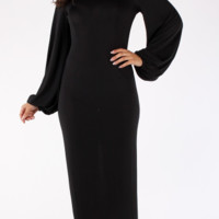 Solid, midi dress in bodycon fit, with long puff sleeves