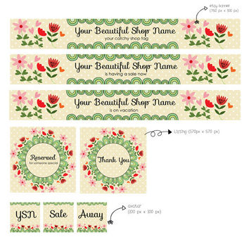 Premade etsy shop set - flowers and dots