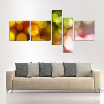 Color Abstract Canvas Art Print Ready to Hang  5 Panels Stretched on Deep 3cm Frame