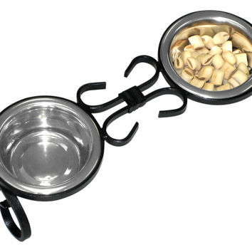 """Wrought Iron Elevated Dog Food Feeder - Diner, 4"""""""