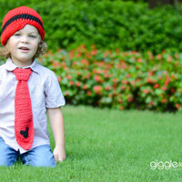 Red Mouse Tie and Beanie Set-Boys Tie and Hat-Photo Prop- Mouse Birthday Tie and Hat-Cake Smash-Crocet Beanie with Tie Set