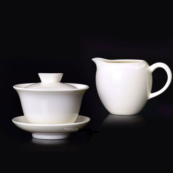 Pure White Porcelain Gaiwan 130ml and Tea Pitcher 200ml