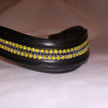 Bling English Curved Cob Size Browband Sunshine Yellow and Black Rhinestones