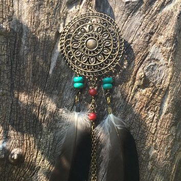 Native American Inspired Chain Necklace-Bohemian Feather Necklace