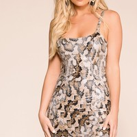 Desert Taupe Snake Bodycon Dress