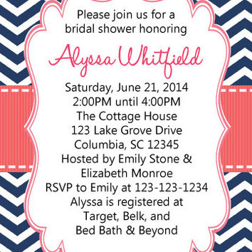 Bridal Shower Invitation Navy Blue and Coral - Printable Wedding Shower Invite with FREE Thank You Card
