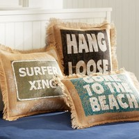 Surf Saying Grain Sack Pillow Cover