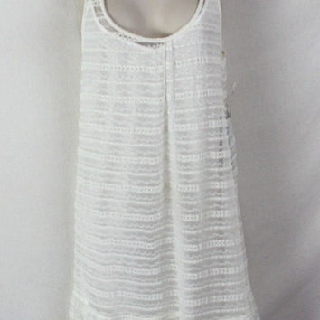 Cute St Tropez Macy's Voyage Mediterranee Dress S size New Ivory Net Lace Over Cami Stretch Summer