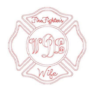 Firefighter Wife Girlfriend Monogrammed Car Decal Personalized Decal Firefighter Wife Sticker Girlfriend Firefighter Sticker