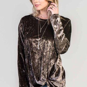 Bellamie crushed velvet top with side knot.