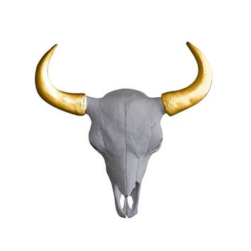The Mini Yellowstone Skull | Buffalo Bison Skull | Faux Taxidermy | White + Gold Horns Resin