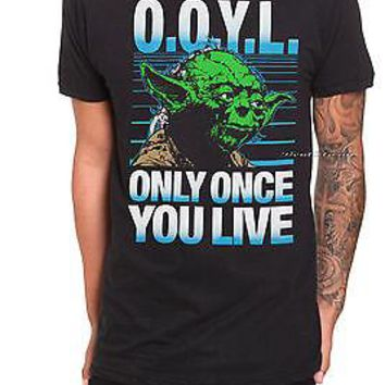 Licensed cool NEW Star Wars Jedi YODA ONLY ONCE YOU LIVE OOYL Tee Shirt Black T Mens Small