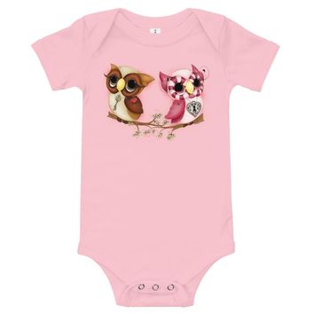 Owl Printed Valentine's Day Baby Outfits