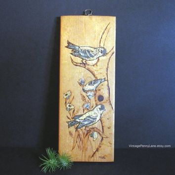 Vintage Pyrography Wood Bird Wall Hanging, Handmade Folk Art, Burnished Wooden Wall Art