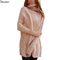 FANALA Winter Sweater Women Long Knitted Turtle Neck Thick Warm Sweater and Pullovers Sweater