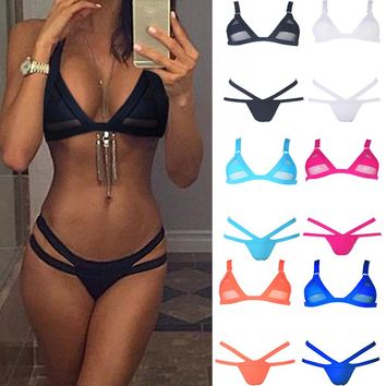 Sexy Women Bikini Set Bandage Swimwear Mesh Swimsuit Brazilian Cheeky Strappy Bottom Summer Beachwear Bathing Suit Bathers