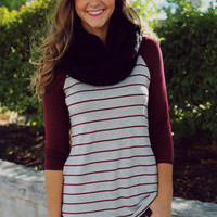 Casual Sunday Baseball Tee- Burgundy