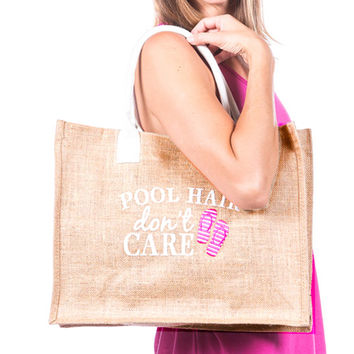 Pool Hair Don't Care Embroidered Tote Bag
