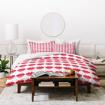 Isa Zapata My Lips Pattern Duvet Cover