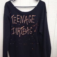 Brand new black off the shoulder sweatshirt teenage Dirtbag bleached and grunged shirt // soft grunge