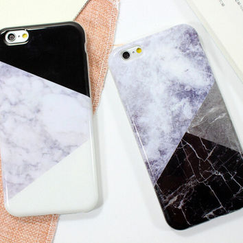 Patchwork Marble iPhone 5se 5s 6 6s Plus Case Cover