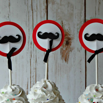 Mustache Themed Birthday Party Cupcake Toppers (set of 12)