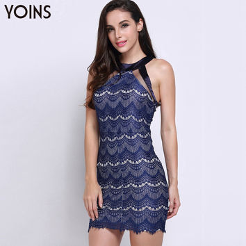 YOINS 2016 New Summer Fashion Women Halter Neck Lace Lined Mini Dress Sexy Off Shoulder Sleeveless Back Zip Lady Dress Vestidos