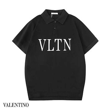 Valentino 2019 new simple letter printing men and women round neck half sleeve t-shirt Black