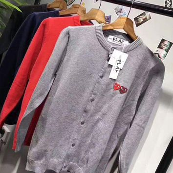 DCCKB62 play cdg Fashion Knit Button Round Neck Long Sleeve Embroider Sweater Coat G-ZDL-STPFYF