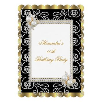 Gold Black White Damask Pearl Birthday Party 5x7 Paper Invitation Card