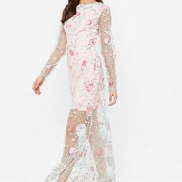 Missguided - Nude Embroidered Lace Long Sleeve Maxi Dress