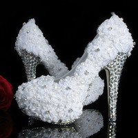 Luxury Heel White Lace with Crystals Luxury Pumps Bridal Heels Shoes Lace Shoes  Luxury Closed Toes Bridal Heels Wedding Shoes Bridal shoes