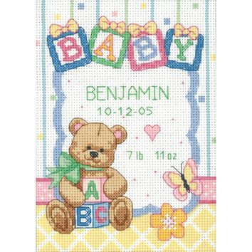 "Dimensions/Baby Hugs Counted Cross Stitch Kit 5""X7""-Baby Blocks Birth Record (14 Count)"