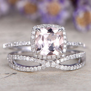 Morganite Engagement Ring White Gold Diamond Bridal Set 7mm Cushion Thin Pave Stacking Band 14k/18k