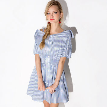 Navy Stripes Strapless Shirt Dress Spaghetti Strap Shaped One Piece Dress [7941159239]