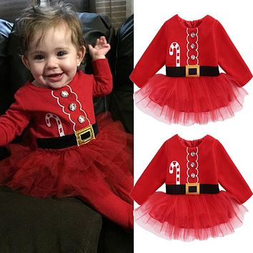 Kids Baby Girl Clothes Dresses Fleece Tops Tulle Tutu Party Christmas Clothing Outfits Dress Costume 0-2T