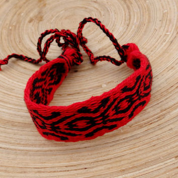 card weaving woven red black bracelet, weave wrist band, colorful braclet, women men jewelry in handmade, patterned boho wrist cuffs