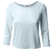LE3NO Womens 3/4 Sleeve Floral Lace Cropped Top (CLEARANCE)