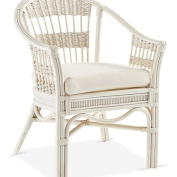 Bermuda Rattan Captains Chair, White - South Sea Rattan - Brands | One Kings Lane