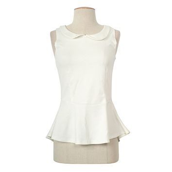Casual Round Collar Solid Sleeveless Cropped Skater Peplum Tank Top Blouse