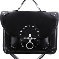 Gothic Business Snake Bite Black Faux Leather Briefcase Bag