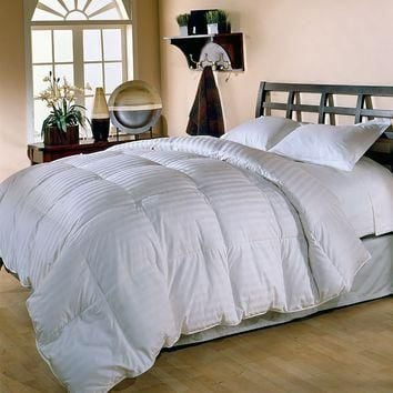 Royal Majesty Supreme 350-Thread Count Damask Stripe Duck Down Comforter - Twin